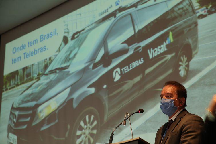 O presidente da Telebras, Jarbas Valente, durante apresentação à imprensa do Protótipo de conexão de internet móvel via satélite para veículos