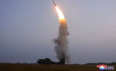 A newly developed anti-aircraft missile is seen during a test conducted by the Academy of Defence Science