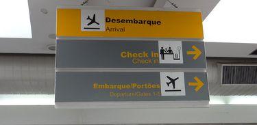 Placas de orientação em um aeroporto