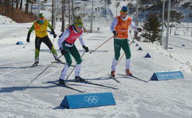 Jaqueline Mourão e Victor Santos, atletas brasileiros das provas estilo livre de cross country dos Jogos de Inverno de PyeongChang 2018, na Coreia do Sul
