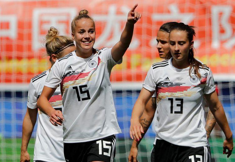 Jogadora Giulia Gwinn, atacante da seleção da Alemanha na Copa do Mundo de Futebol Feminino - França 2019.