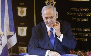 O primeiro-ministro de Israel, Benjamin Netanyahu, durante visita na  sinagoga Kehilat Yaacov, em Copacabana, no Rio de Janeiro