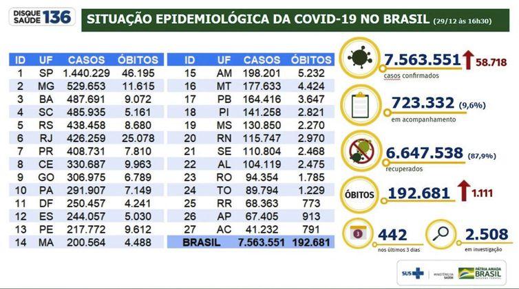 Situação epidemiológica da covid 19 no Brasil /29.12.2020