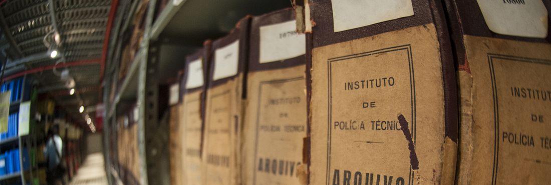 Sala com os arquivos do extinto Departamento Estadual de Ordem Política e Social (DEOPS) de São Paulo que estão sendo digitalizados e disponibilizados na Internet