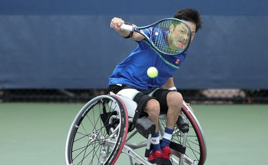 September 11, 2020 - Shingo Kunieda in action against Joachim Gerard during a wheelchair men's singles Semifinal match at the 2020 US Open. (Photo by Brad Penner/USTA)