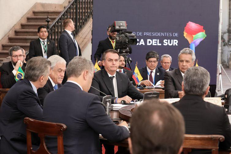 O presidente do Brasil, Jair Bolsonaro, durante abertura do fórum que discute a criação do Prosul, nova comunidade de países latino-americanos que deverá substituir a União das Nações Sul-Americanas (Unasul).