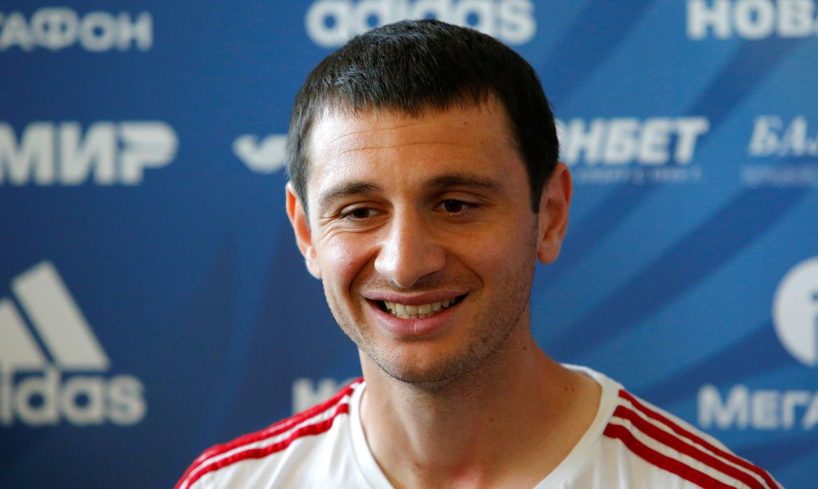 Soccer Football - World Cup - Russia Press Conference - Russia Training Camp, Moscow, Russia - June 17, 2018   Russia's Alan Dzagoev during the press conference   REUTERS/Sergei Karpukhin