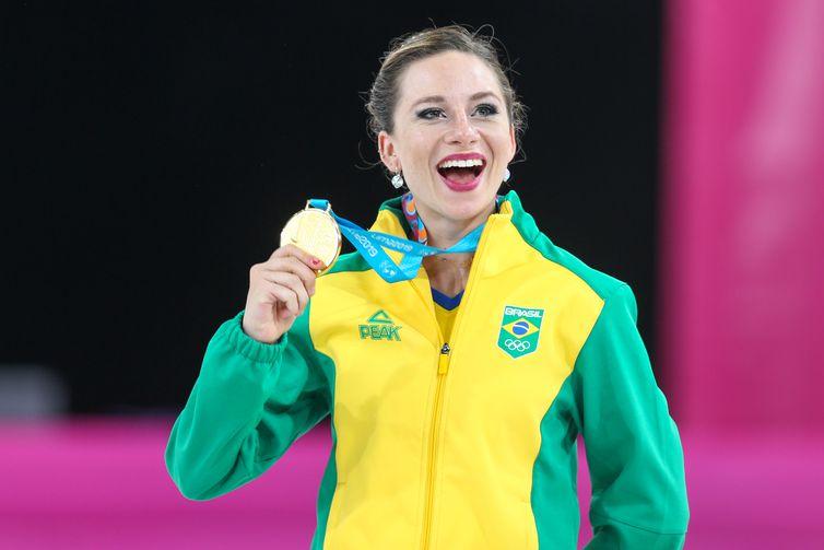 Bruna Wurts, patinação artística, medalha de ouro. Jogos Pan-Americanos Lima 2019. Local: Videna, em Lima, no Peru. Data: 27.07.2019. rededoesporte.gov.br