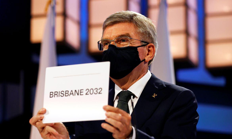 Presidente do COI, Thomas Bach, anuncia Brisbane como cidade-sede da Olimpíada de 2032 , em 21/07/2021