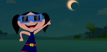 Luna assiste a um eclipse solar