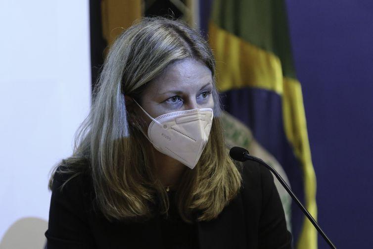 A presidente da Pfizer do Brasil, Marta Diez, durante anúncio à imprensa, sobre a produção de vacinas no Brasil