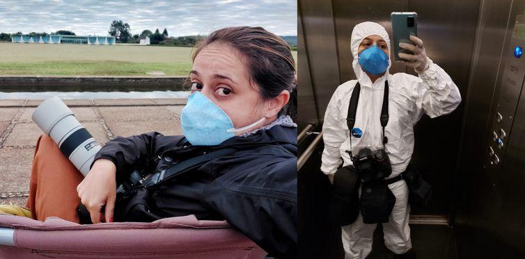 Selfies (autorretratos) da fotojornalista Andressa Anholete durante a pandemia, Fotojornalista Andressa Anholete em dois momentos do seu trabalho, usando máscara e roupas de proteção contra o Covid-19