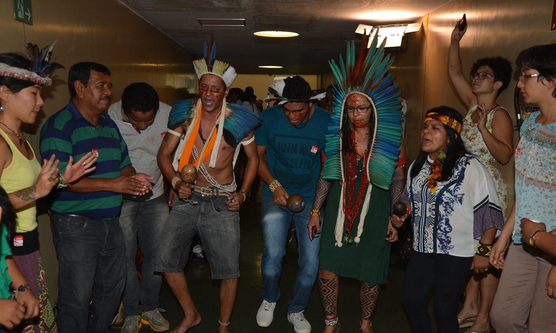 Brasília - Indígenas fazem manifestação próximos ao plenário 14 onde acontece a reunião da comissão especial da PEC das Demarcações de Terras Indígenas  (Fabio Rodrigues Pozzebom/Agência Brasil)