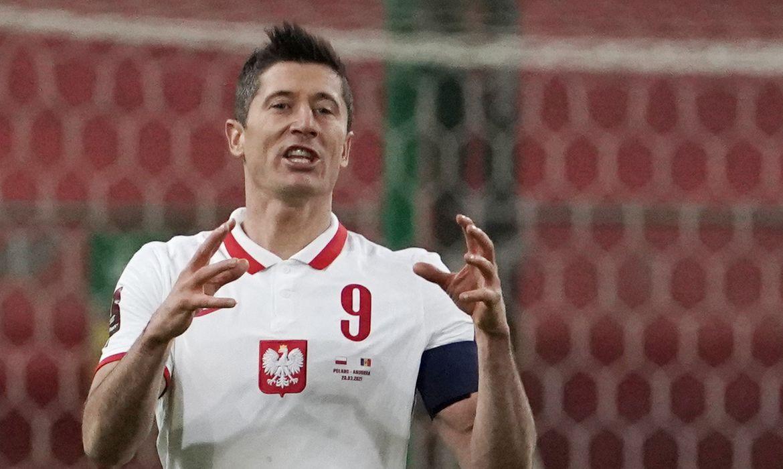 Robert Lewandowski. do Bayeren de Munique,  em jogo contra Andorra