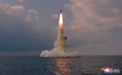 A new submarine-launched ballistic missile is seen during a test