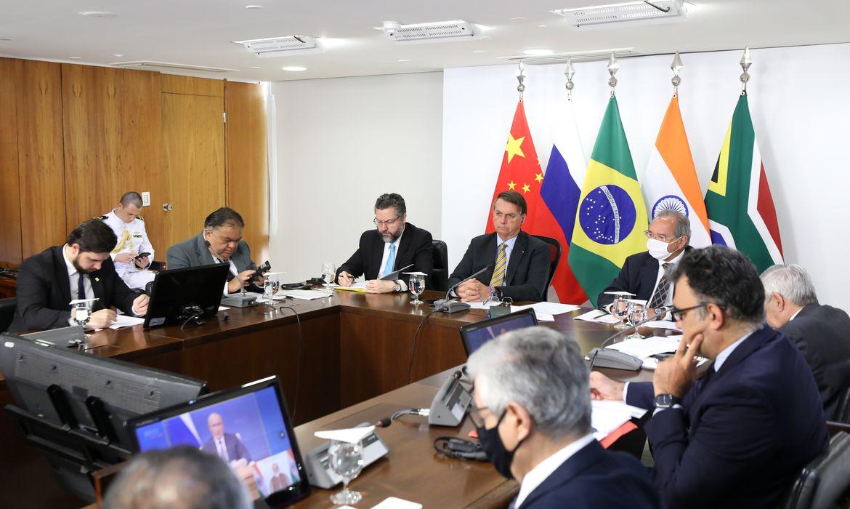 O presidente da República, Jair Bolsonaro, durante reunião da XII Cúpula de Líderes do BRICS (videoconferência).