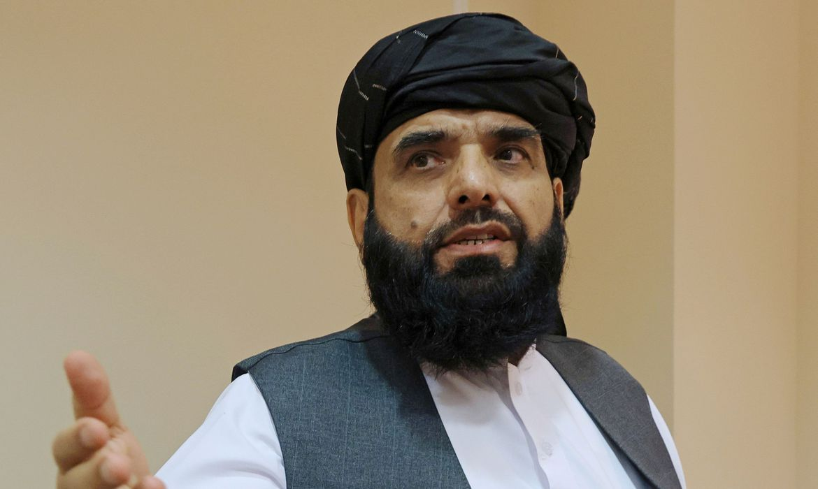 FILE PHOTO: Taliban spokesmanSuhail Shaheen leaves after a news conference in Moscow,