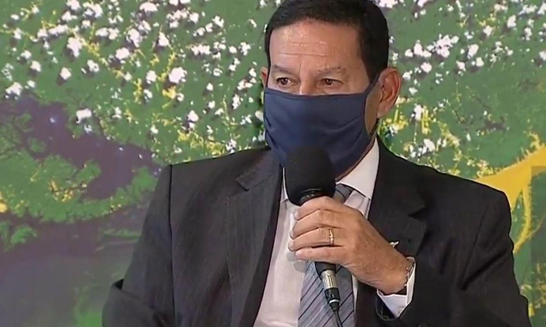 O Vice-presidente Hamilton Mourão e ministros de Estado, conversam com jornalistas sobre as operações de combate ao desmatamento e repressão de crimes na Amazônia Legal.