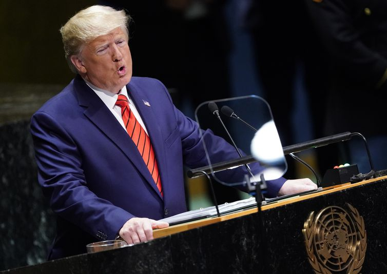 U.S. President Donald Trump addresses the 74th session of the United Nations General Assembly at U.N. headquarters in New York City, New York, U.S., September 24, 2019. REUTERS/Carlo Allegri
