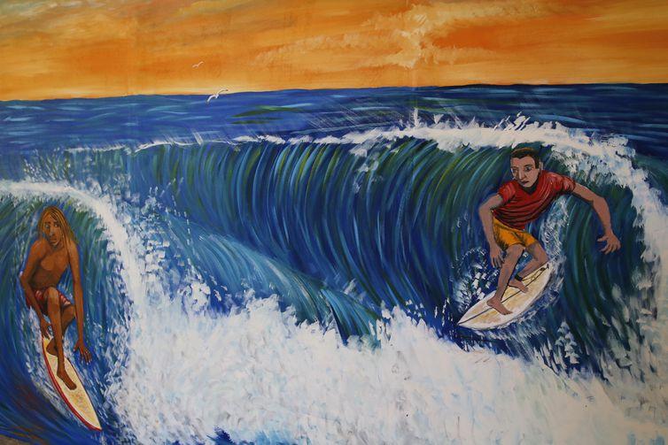 Detalhe da obra Point de Surf, de Leonardo Lobão, em exposição na Casa França-Brasil. O centro cultural Casa França-Brasil reabre após um ano de fechamento e recebe a mostra Casa Aberta: Paisagens, na região central do Rio de Janeiro.