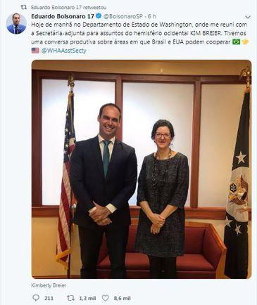 Eduardo Bolsonaro postou imagens de sua visita aos Estados Unidos nesta segunda-feira