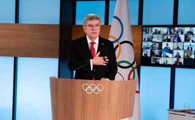 Presidente do COI, Thomas Bach, em Lausanne