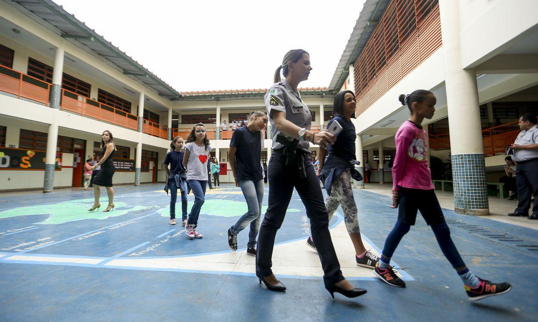Primeiro dia de aulas no CED 01 da Estrutural, uma das escolas públicas do DF onde foi implementado o modelo cívico-militar.