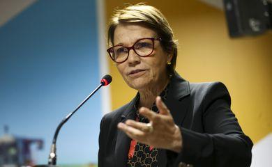 A ministra da Agricultura, Pecuária e Abastecimento, Tereza Cristina, durante o lançamento da Câmara da Cerveja.