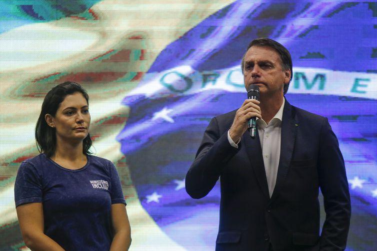 O presidente da República, Jair Bolsonaro, assiste ao culto na Igreja Batista Atitude,acompanhado da  esposa, Michelle Bolsonaro