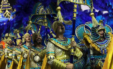 Revellers from Aguia de Ouro samba school perform during the second night of the Carnival parade at the Sambadrome in Sao Paulo