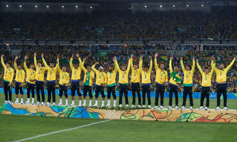 Rio de Janeiro - Brasil vence Alemanha e conquista primeiro ouro olímpico do futebol (Fernando Frazão/Agência Brasil)