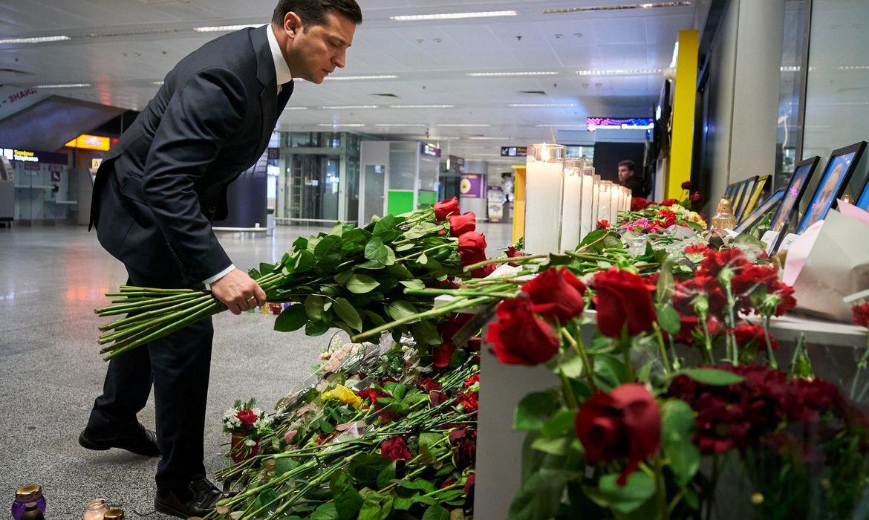 Ukrainian President Volodymyr Zelenskiy lays flowers to commemorate victims of the Ukraine International Airlines Boeing 737-800 plane crash, at a memorial in Boryspil International airport outside Kiev, Ukraine January 9, 2020. Ukrainian
