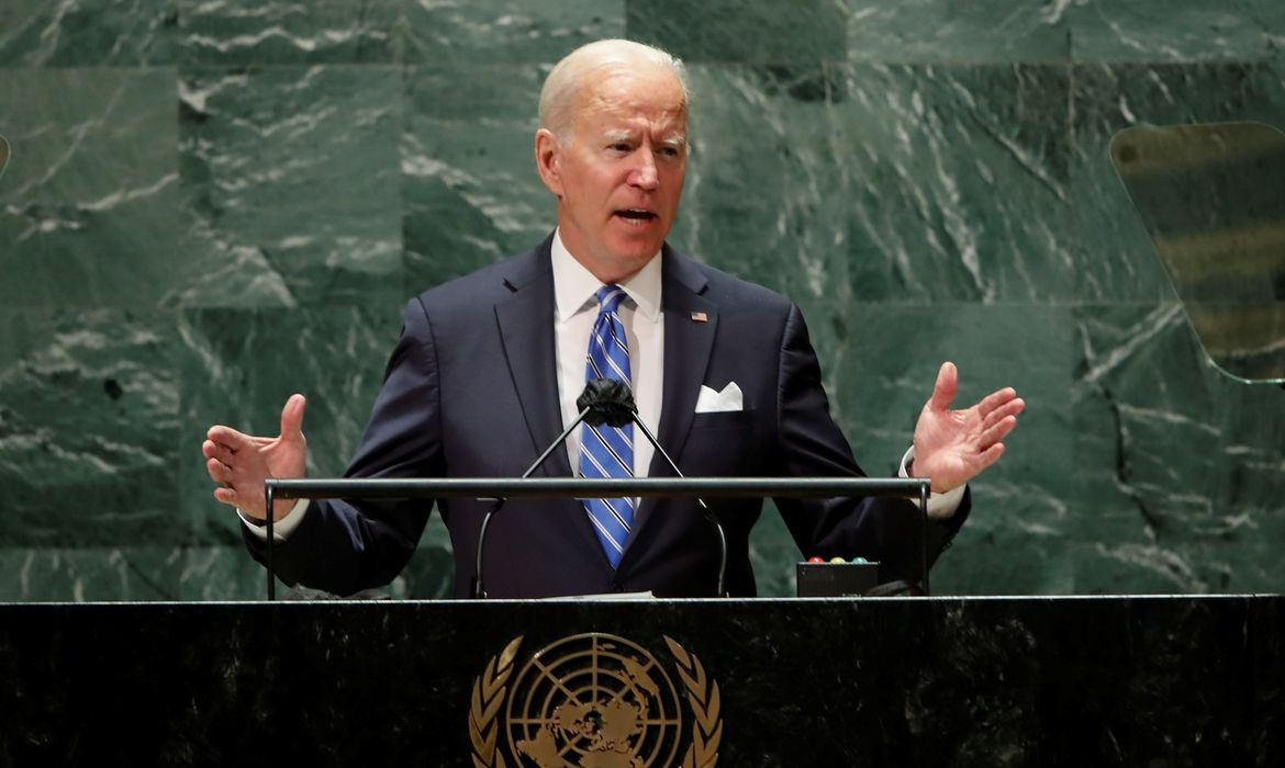 U.S. President Joe Biden addresses the 76th Session of the U.N. General Assembly in New York City