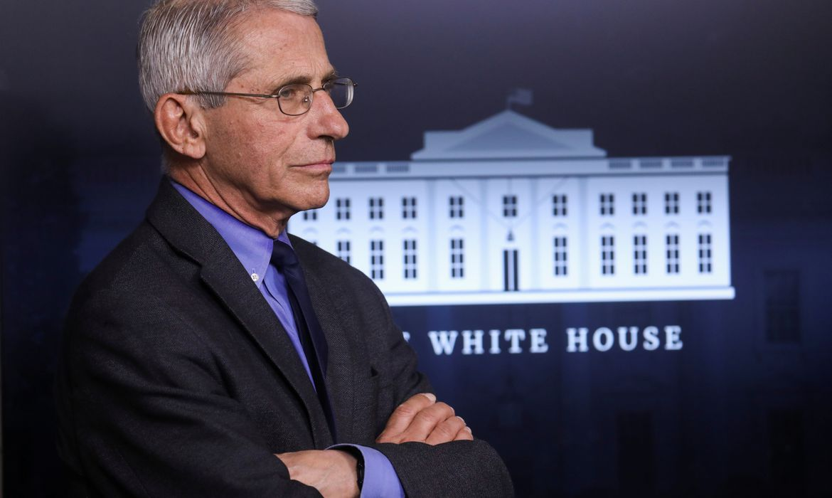 National Institute of Allergy and Infectious Diseases Director Dr. Anthony Fauci attends daily coronavirus response briefing at the White House in Washington