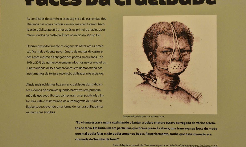 Retratos de escravos na exposição Forever Free-Livres para Sempre, sobre a história do tráfico de escravos no  mundo, no Museu da Justiça (Fernando Frazão/Agência Brasil)