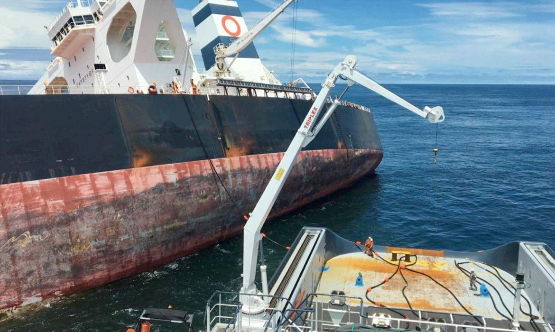 O navio sul-coreano Stellar Banner teve toda a carga retirada antes do afundamento programado pela Marinha do Brasil.