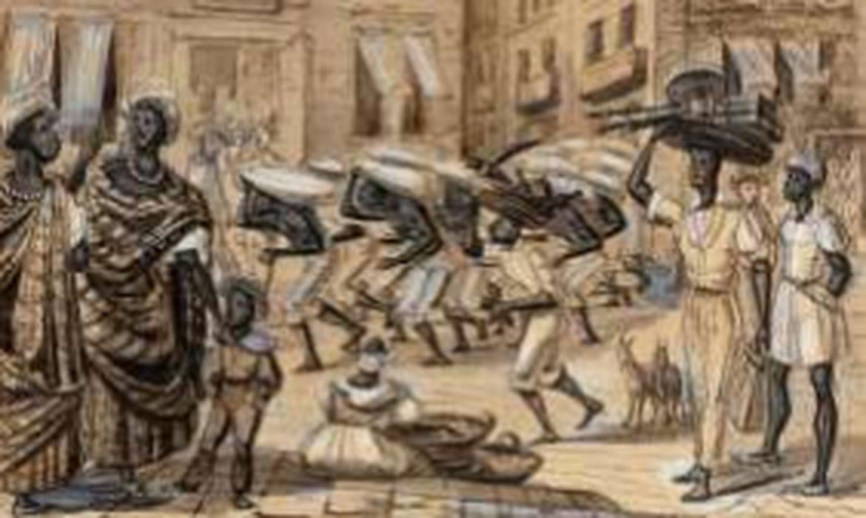 Cena na Rua Direita (atual Rua Primeiro de Março), nanquim, aquarela e guache sobre papel de Paul Harro-Harring  - Acervo Instituto Moreira Salles