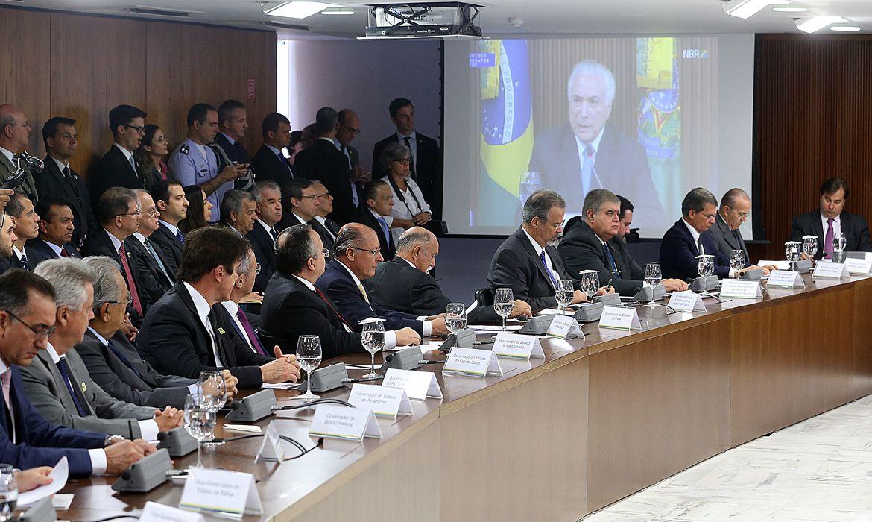 Brasília - O presidente Michel Temer debate Segurança Pública com governadores, em reunião no Palácio do Planalto (Antonio Cruz/Agência Brasil)