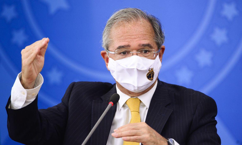 O ministro da Economia, Paulo Guedes, durante pronunciamento sobre preço dos combustíveis e a política de reajustes adotada pela Petrobras.