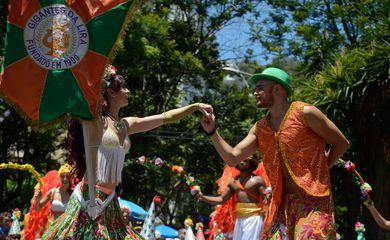 Rio de Janeiro - Bloco Gigantes da Lira faz a festa para milhares de foliões no pré-carnaval carioca, em cortejo pelo bairro de Laranjeiras, na zona sul da capital fluminense (Tomaz Silva/Agência Brasil)