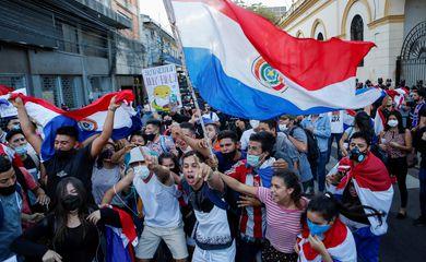 Paraguayans protest against President Mario Abdo Benitez's health policies in Asuncion