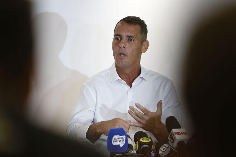 O vereador Marcello Siciliano (PHS-RJ) concede coletiva à imprensa sobre morte de Marielle Franco.