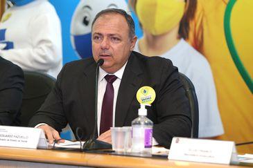 O ministro da Saúde, Eduardo Pazuello, durante o lançamento da Campanha Movimento Vacina Brasil