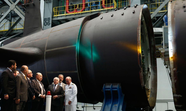 Itaguaí(RJ) - O presidente Michel Temer fala durante cerimônia de Integração dos Submarinos Classe Riachuelo no Estaleiro e Base Naval,região metropolitana do Rio (Tomaz Silva/Agência Brasil)