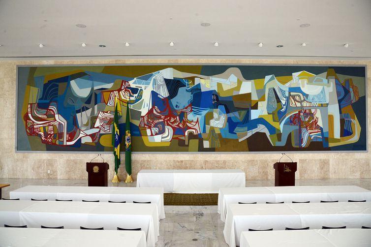 Brasília - Painel de autoria de Burle Marx, faz parte do acervo artístico do Palácio do Planalto que reúne 146 quadros e 17 esculturas exposta em áreas públicas do prédio (José Cruz/Agência Brasil)