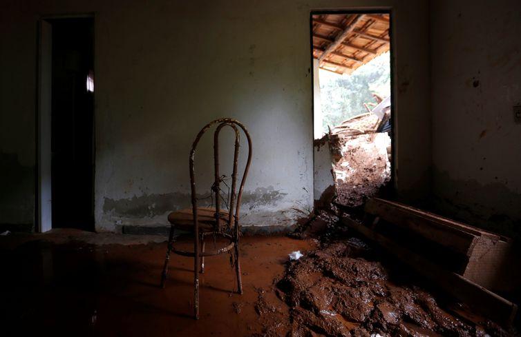 Casa destruída após o rompimento de barragem de rejeitos de minério de ferro de propriedade da mineradora Vale, em Brumadinho (MG).