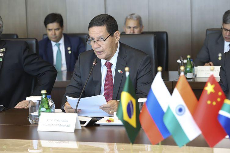 Vice-Presidente da República, Hamilton Mourão, durante Encontro com o Presidente e a nova diretoria do Novo Banco de Desenvolvimento (NDB).