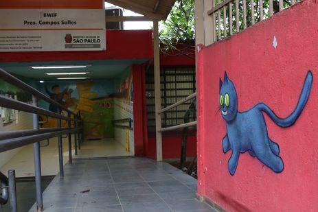 Intervenções artísticas realizadas pelo projeto Escola Criativa, promovido pelo Instituto Choque Cultural, na Escola Municipal de Ensino Fundamental Presidente Campos Salles, na Cidade Nova Heliópolis, zona sul.
