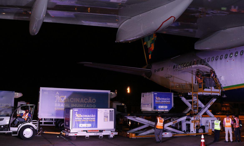 Vacinas da AstraZeneca/Oxford contra Covid-19 produzidas pelo Instituto Serum, na Índia, chegam  à base aérea do Galeão