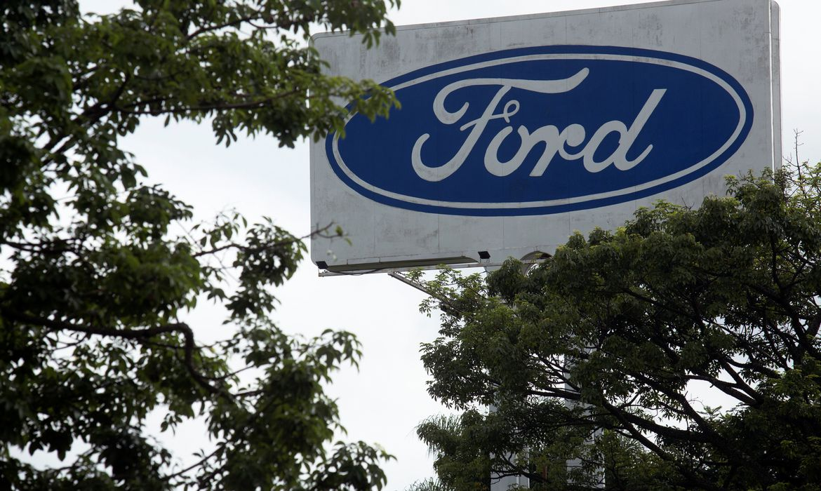 Ford logo is pictured at Ford Motor Co plant in Taubate